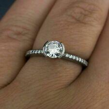 Gold 1.85 Ct Round Diamond Half Bezel Engagement & Wedding Bridal Ring 14k White