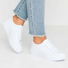 EX STORE Ladies Womens Plain White Canvas Trainers Pumps Lace-Up Size 4 5 6 7