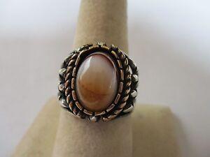 Sterling Silver Tiger's Eye brown cream Men's Ring Oval cut stone 12x10mm sz 9