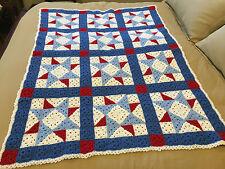 Handmade Afghan Throw / Blanket - Designer Collection - American 8 Point Stars
