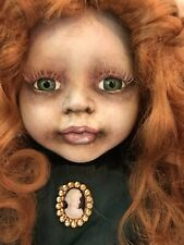"Ooak Creepy Horror Doll Beautiful Victorian Dressed Girl Red Hair 16"" Cute"