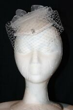 Women's White Satin Fascinator with Bow and Veil
