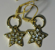 Earrings Star 14 Kt Electro Gold Plated Leverback Made With Swarovski Crystals