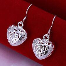 beautiful Fashion Silver nice women pretty love heart Earring JEWELRY 925 HOT
