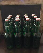 Lot Of 12 Grolsch Holland Green Glass Bottles Home Brewing Beer Swing Top