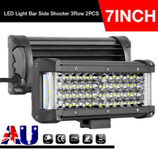 2x 7inch 400W LED Light Bar Spot Flood Side Shooter Quad Row Work Driving Trucks
