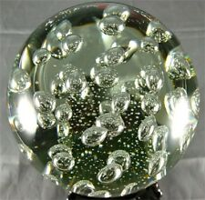 Clear Glass Paperweight with Bubbles/Handcrafted/Blown Glass Art/Home Decor