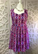 BNWT Lovedrobe Skater Dress Size 16 Tribal Print Pink Purple Sweetheart Neckline