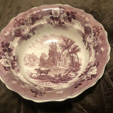 """Rare Mulberry Transferware Wash Bowl """"ABBEY RUINS""""  Mayer Stafford.1830 As Is"""