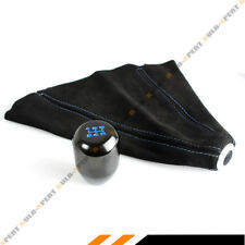 M10 X 1.25 Type-R Black Blue 5 Speed Gear Knob + Suede Shift Boot For Mitsubishi