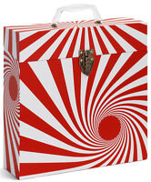"TUNES-TOTE ""SWIRL RED"" VINYL 12"" LP RECORDS CARRY CASE -  FREE SHIPPING!"