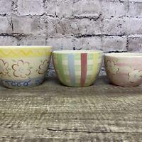 "Longaberger Set If 3 Small Bowls Pottery Beige/ Multi Color Floral 6""5""4"""