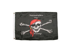 2x3 Jolly Roger Pirate Surrender The Booty Red Hat Premium Quality Flag 2'x3'