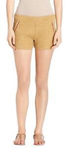 TORY BURCH Womens ENA KNIT SHORTS LINEN Golden Yellow Stretch Crochet Sz.XS