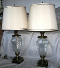 Frederick Cooper Lamps Shades Urn Style Clear Crystal Bronzed Brass Signed