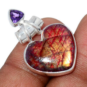 Heart - Red Flash Labradorite & Amethyst 925 Silver Pendant Jewelry BP94506