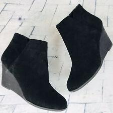 Susina Black Genuine Suede Leather Wedge Heel Ankle Boots ~ Sz 7 M NWOB