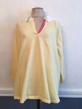 3X Basic Concepts Women's Light Yellow 100% Cotton Collared Shirt 3/4 Sleeve Plu