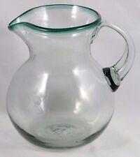 Mexican Glass Pitcher Green Rim Clear Hand Blown Glassware Mexico 3 Quart