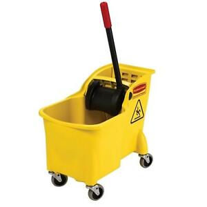 Rubbermaid Commercial 31 Qt. All-in-one Tandem Mopping Bucket and Mop Wringer