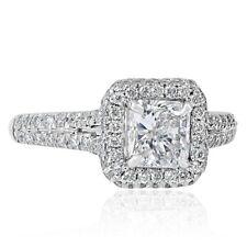 Radiant Cut Engagement Ring 1.60 Ct Pave Diamond Halo 18k White Gold Split Shank