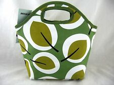 Retro Mid Century Modern Leaf Zippered Insulated Lunch Tote Cosmetic Makeup Bag
