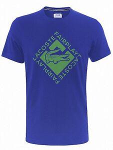 Lacoste TH578700 Men's Pro ATP Player Fairplay Sport Logo Tennis Tee Shirt Blue