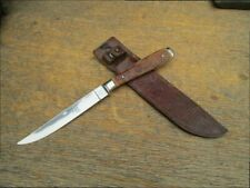 Vintage Abercrombie & Fitch Fixed Blade Bird/Trout Hunting Knife w/Stag Handles