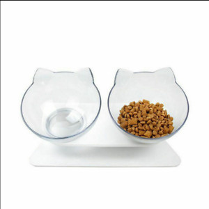 Food Bowl With Stand White Elevated Cat Dog Water Bowl Detachable Pet Feeding