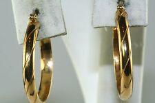 CONTEMPORARY ITALIAN ITALY 18K GOLD 1 INCH HOOP HOOPS EARRINGS