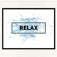 Blue White Relax Boxed Inspirational Quote Dinner Table Placemat