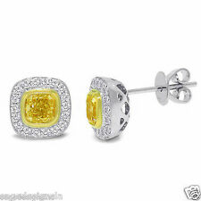 1.32 TCW 14K White Gold Natural Fancy Yellow Cushion Cut Diamond Stud Earrings
