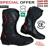 CE APPROVED BLACK SPEED MAX MENS MOTORBIKE MOTORCYCLE RACING LEATHER SHOES BOOTS