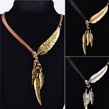 Fashion Bohemian Style Bronze Rope Chain Feather Pattern Pendant Choker Necklace