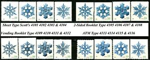 SNOWFLAKES Complete Set of 16 MNH Stamps Dated 2006 Scott's 4101 to 4116
