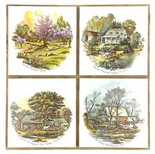 4 Square Ceramic Tiles Currier & Ives American Homestead Seasons New England etc