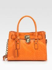 Micheal Kors Orange Ostrich Embossed Hamilton Satchel Handbag/ Purse