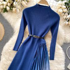 Леди вязаные лоскутное Платье плиссированные градиент с длинным рукавом высокая талия повседневные голубой