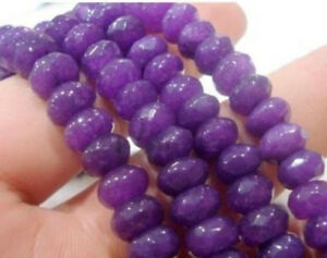 Faceted 5x8mm Natural Purple Amethyst Gems Abacus Rondelle Loose Beads 15''
