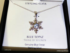 VICTOR BLUE TOPEZ SILVER NECKLACE   Blue Topaz & Diamond Accent NEW  $100