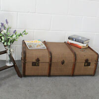 """LARGE Vintage True Steamer Trunk. Wood Slats and """"Tattersall"""" Material Cover."""