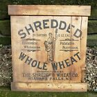 Vintage Shredded Wheat Wooden Wood Shipping Box Crate End Sign Niagara Falls NY