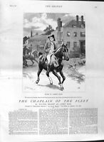 Old Antique Print 1881 Illustration Story Chaplain Fleet Will Horse Man 19th