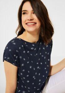 CECIL - T-Shirt mit Minimal Print in Deep Blue