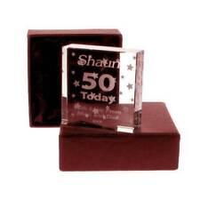 Personalised 50th birthday gift glassware glass token keepsake. Engraved Idea