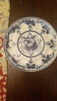 Vintage Ceramic Hand Painted White Blue Floral Plate Egg Devil Egg Platter EUC