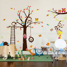 Cheeky Monkey Animals Tree Wall decal Removable sticker kids art nursery decor