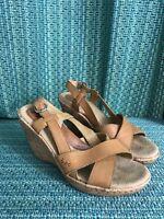 Boc Born Consept Platform Sandal Brown Leather Size 8
