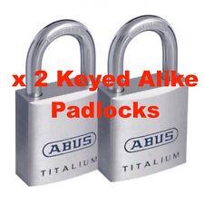 Padlock Pair. Lot of x  2 KEYED ALIKE Abus 40mm Padlocks -Free Postage-