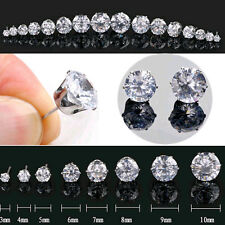 2pcs Mens Diamond Cut Crystal Diamante Stainless Steel Clear Ear Studs Earrings